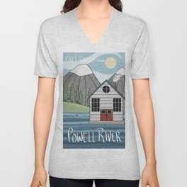Greetings from Powell River w/Text Unisex V-Neck