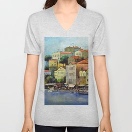 Mediterranean town Unisex V-Neck