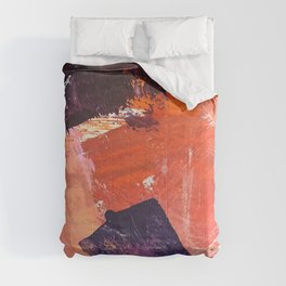 Amazon: a bright, colorful, abstract piece in orange, red, deep purple, and light blue Comforters