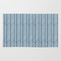 herringbone Area & Throw Rugs featuring Herringbone Navy by Project M