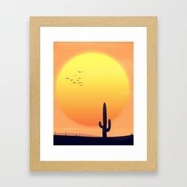 Desert Landscape setting sun. Framed Art Print
