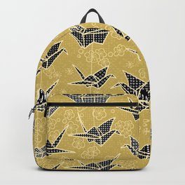 Black and Gold Japanese Origami Cranes Backpack