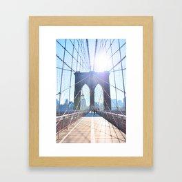 303. Sunny Brooklyn Bridge, New York Framed Art Print