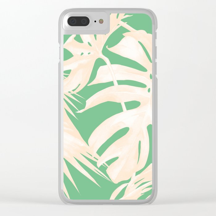 Tropical Coral Green Palm Leaf Pattern Clear iPhone Case