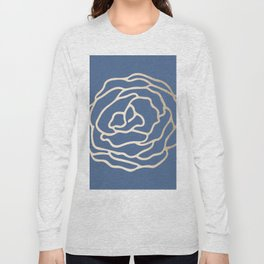 Flower in White Gold Sands on Aegean Blue Long Sleeve T-shirt