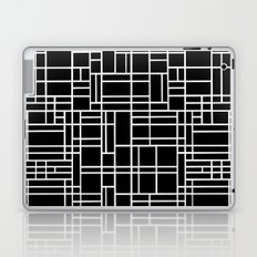 Map Outline White on Black Laptop & iPad Skin