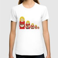 50s T-shirts featuring 50s Housewife Russian Doll by Yana Elkassova