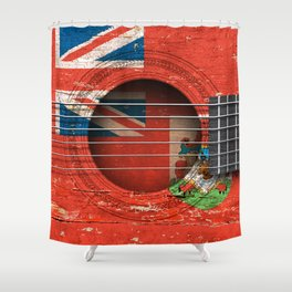 Old Vintage Acoustic Guitar with Bermuda Flag Shower Curtain