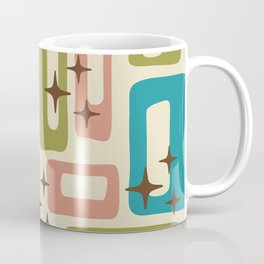 Retro Mid Century Modern Abstract Pattern 623 Olive Blue and Dusty Rose Coffee Mug