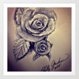 Pen Rose Art Print