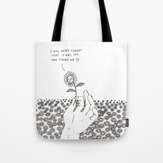 I Will Never Forget That It Was You Who Found Me Tote Bag