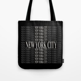 New York City (type in type on black) Tote Bag