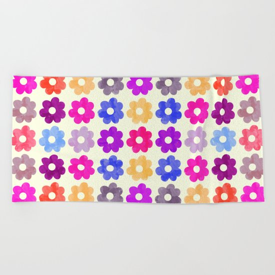 Colorful Floral Pattern II Beach Towel