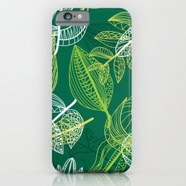 Lovely green leaves pattern illustration iPhone Case
