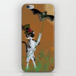 Cat Walking His Bat iPhone Skin