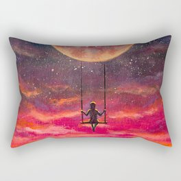 Cute girl ride on a swing on big planet in beautiful pink sunset cosmos Rectangular Pillow
