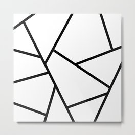 Black and White Fragments - Geometric Design I Metal Print