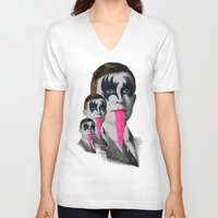 kiss V-neck T-shirts featuring kiss by DIVIDUS