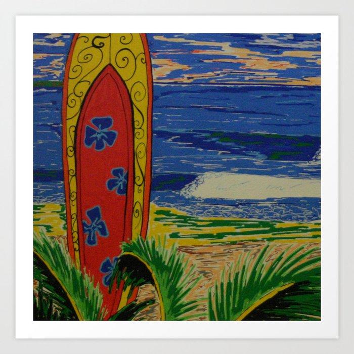 Journée Surf Art Print