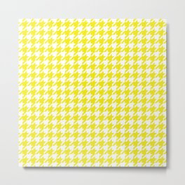 Yellow Houndstooth Pattern Metal Print