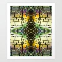 Cracked Chromatic Desert Horizon Art Print