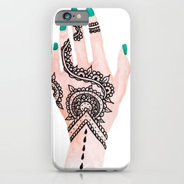 Modern watercolor hand  floral henna tattoo turquoise nails iPhone Case