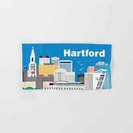 Hartford, Connecticut - Skyline Illustration by Loose Petals Hand & Bath Towel
