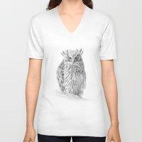 buffy V-neck T-shirts featuring The Buffy Fish Owl by Asya Mitskevich