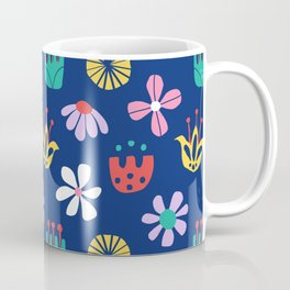 Nordic Floral in Mod Rainbow + Navy Blue Coffee Mug