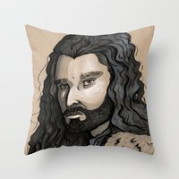 thorin Throw Pillows featuring Thorin by Katy-L-Wood