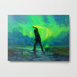 Man Paints the Northern Lights Metal Print
