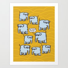 Elephant Cluster Art Print