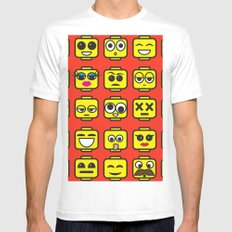 Yellow Cartoon Faces on Pink Background White Mens Fitted Tee MEDIUM