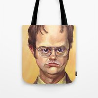dwight Tote Bags featuring Mr. Dwight K Schrute by Ben Anderson