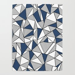 Abstraction Lines with Navy Blocks Poster