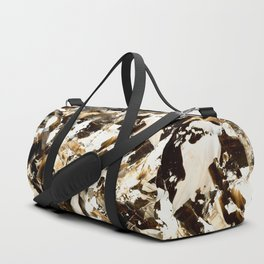 But first coffee | abstract brown acrylic original painting brushstrokes Duffle Bag