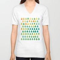 rain V-neck T-shirts featuring Monsoon Rain by Picomodi