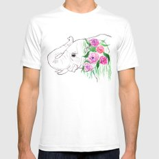 Elephant, Nature, Animal, Watercolor SMALL White Mens Fitted Tee
