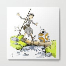 Bb8 and Rey Crossover Calvin and Hobbes Metal Print
