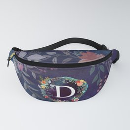 Personalized Monogram Initial Letter D Floral Wreath Artwork Fanny Pack