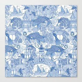 chinoiserie toile blue Canvas Print