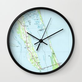 Northern Outer Banks North Carolina Map (1985) Wall Clock