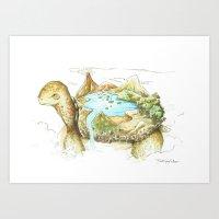 Turtle landscape Art Print
