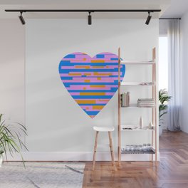 Glitching Hearts — Pink, Blue, and Orange Wall Mural