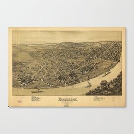 Aerial View of Duquesne, Allegheny County, Pennsylvania (1897) Canvas Print