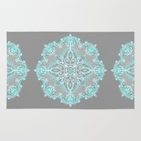 bedding Area & Throw Rugs featuring Teal and Aqua Lace Mandala on Grey by micklyn