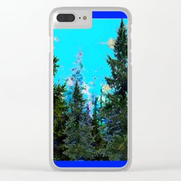 WESTERN PINE TREES LANDSCAPE IN BLUE Clear iPhone Case