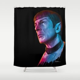 "Homage to Leonard Nimoy - Mr. Spock ""Star Trek"" (colored version) Shower Curtain"