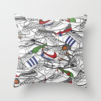 sneakers Throw Pillows featuring Sneakers by Adikt