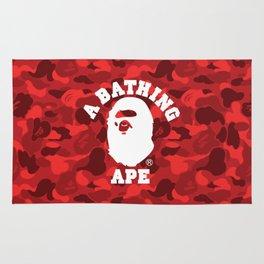 A BATHING APE WHITE LOGO ON RED CAMO Rug